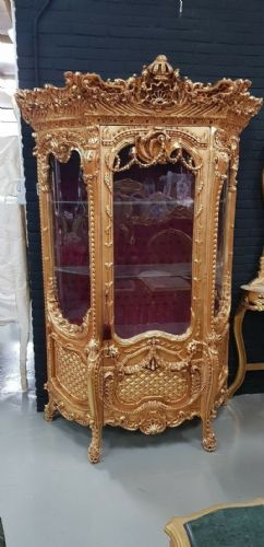 CASE BAROQUE STYLE SOLID WOOD GOLD GLASS CASE # MB250